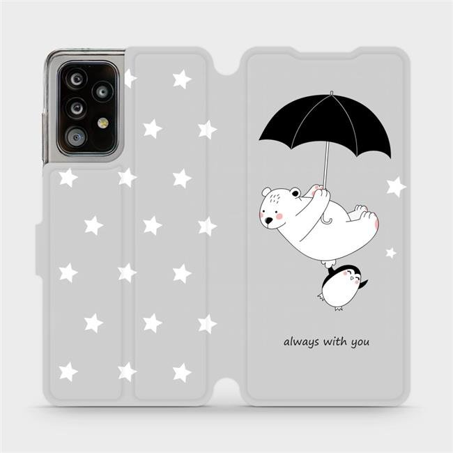 Flipové pouzdro Mobiwear na mobil Samsung Galaxy A52 / A52 5G / A52s 5G - MH08P Méďa a tučňák - always with you