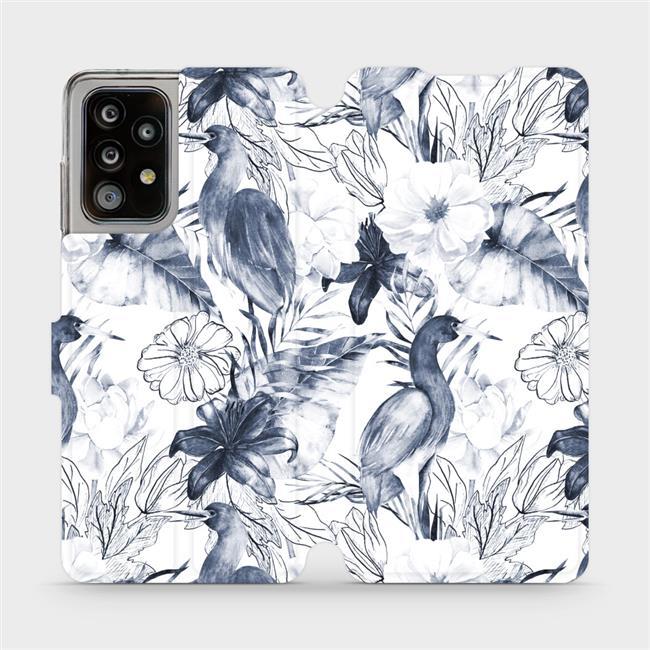 Flipové pouzdro Mobiwear na mobil Samsung Galaxy A52 / A52 5G / A52s 5G - MX09S Modravé květy