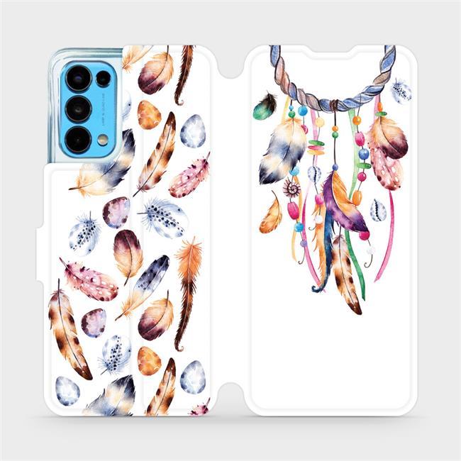 Flip pouzdro Mobiwear na mobil OPPO Reno5 5G - M003S Lapač a barevná pírka