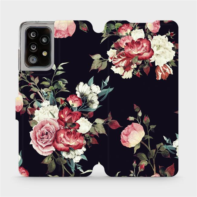 Flipové pouzdro Mobiwear na mobil Samsung Galaxy A52 / A52 5G / A52s 5G - VD11P Růže na černé