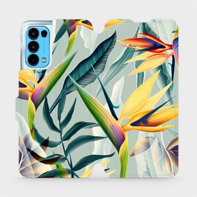 Flip pouzdro Mobiwear na mobil OPPO Reno5 5G - MC02S Žluté velké květy a zelené listy