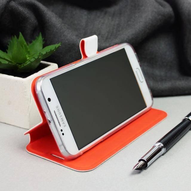 Flipové pouzdro Mobiwear na mobil Samsung Galaxy A52 / A52 5G / A52s 5G v provedení C_BRP Brown&Orange s oranžovým vnitřkem