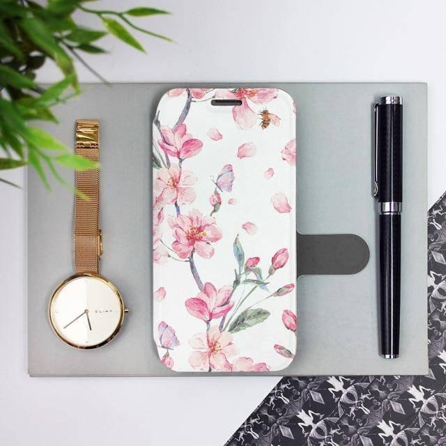 Flipové pouzdro Mobiwear na mobil Samsung Galaxy A72 - M124S Růžové květy