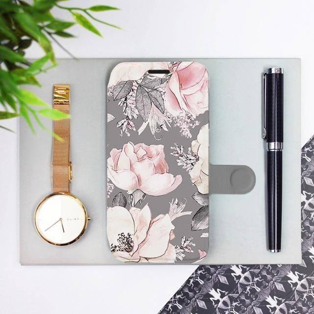 Flipové pouzdro Mobiwear na mobil Samsung Galaxy A72 - MX06S Květy na šedém pozadí