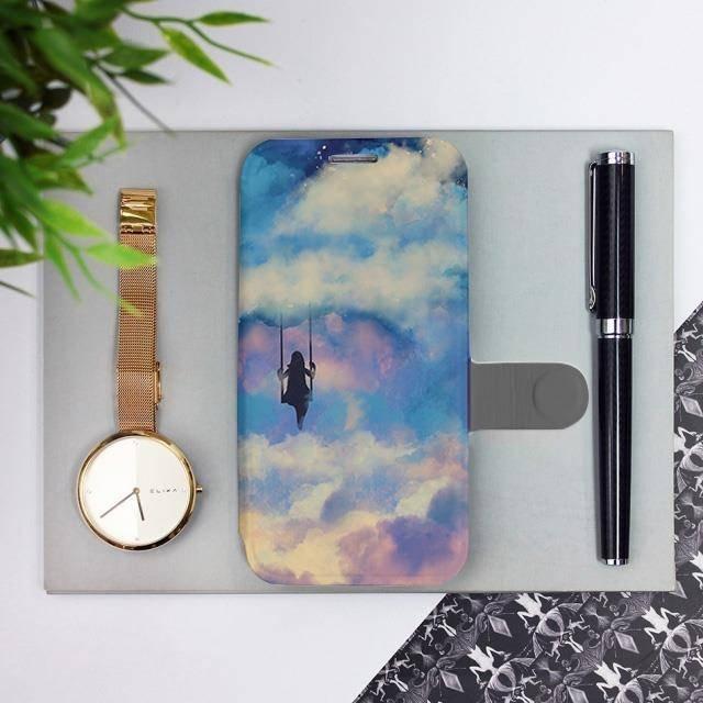 Flipové pouzdro Mobiwear na mobil Samsung Galaxy A72 - MR09S Dívka na houpačce v oblacích