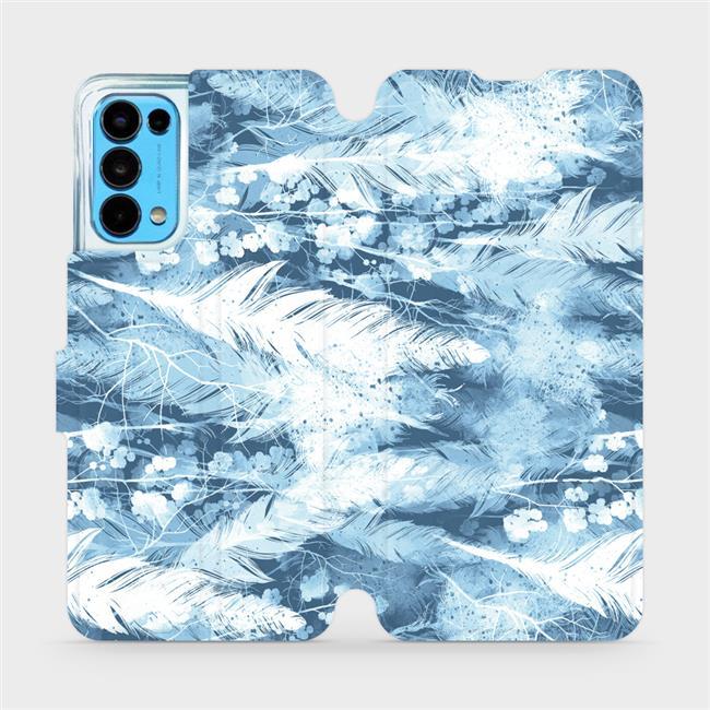 Flip pouzdro Mobiwear na mobil OPPO Reno5 5G - M058S Světle modrá horizontální pírka