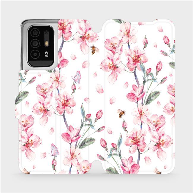 Flip pouzdro Mobiwear na mobil OPPO Reno5 Z 5G - M124S Růžové květy