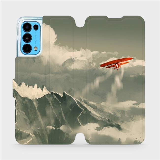 Flip pouzdro Mobiwear na mobil OPPO Reno5 5G - MA03P Oranžové letadlo v horách