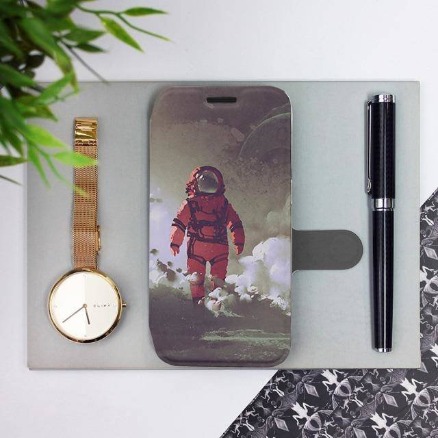 Flipové pouzdro Mobiwear na mobil Samsung Galaxy A52 / A52 5G / A52s 5G - MA07S Týpek ve skafandru
