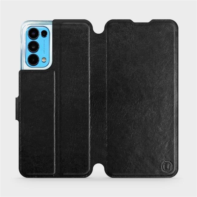 Flip pouzdro Mobiwear na mobil OPPO Reno5 5G v provedení C_BLS Black&Gray s šedým vnitřkem