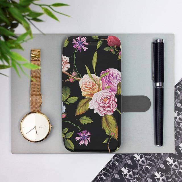 Flipové pouzdro Mobiwear na mobil Samsung Galaxy A72 - VD07S Růže a květy na černém pozadí