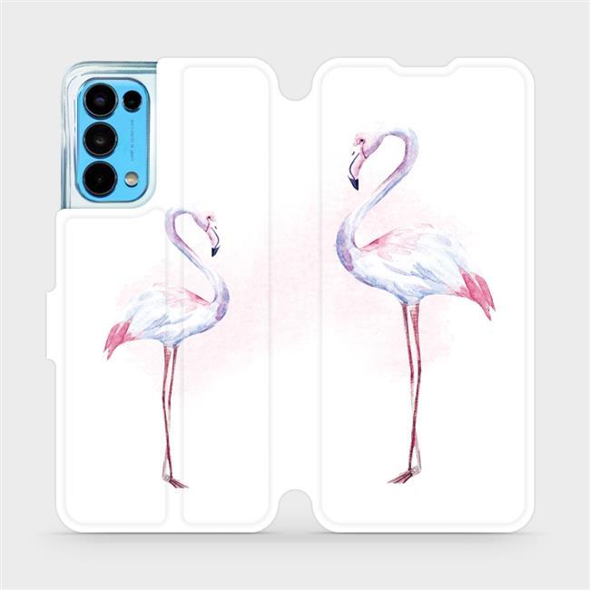 Flip pouzdro Mobiwear na mobil OPPO Reno5 5G - M005S Plameňáci