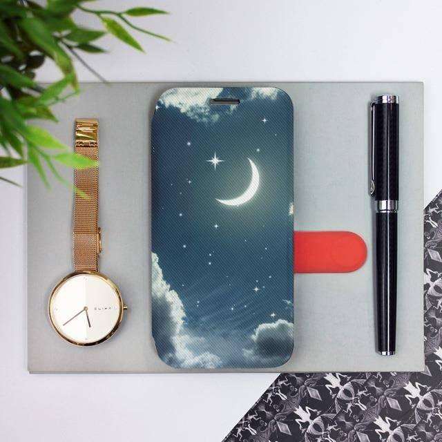 Flipové pouzdro Mobiwear na mobil Samsung Galaxy A52 / A52 5G / A52s 5G - V145P Noční obloha s měsícem