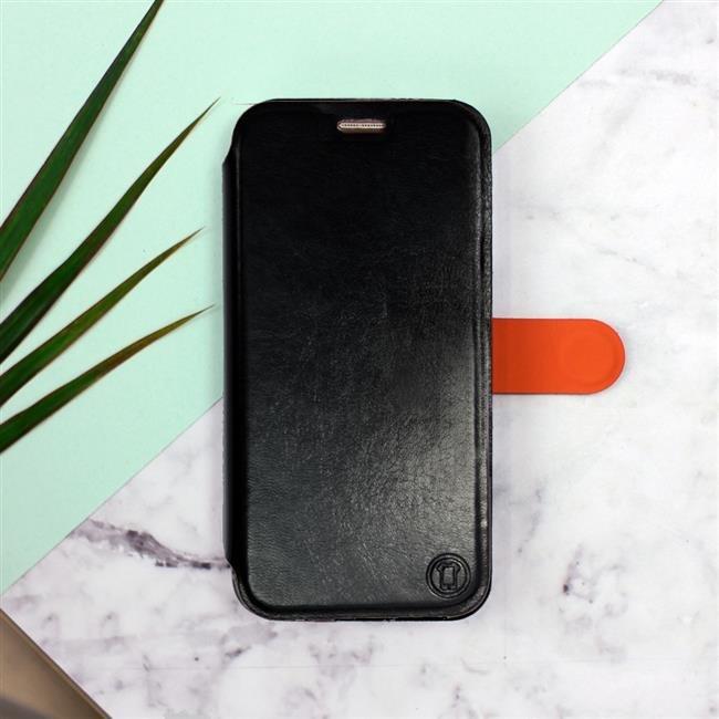 Flipové pouzdro Mobiwear na mobil Samsung Galaxy A72 v provedení C_BLP Black&Orange s oranžovým vnitřkem