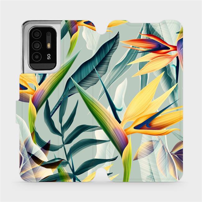 Flip pouzdro Mobiwear na mobil OPPO Reno5 Z 5G - MC02S Žluté velké květy a zelené listy