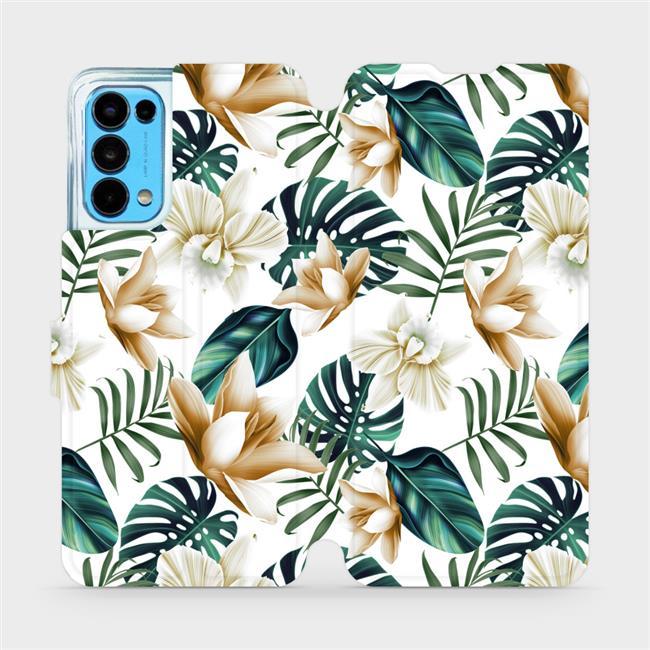 Flip pouzdro Mobiwear na mobil OPPO Reno5 5G - MC07P Zlatavé květy a zelené listy