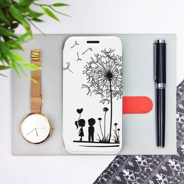 Flipové pouzdro Mobiwear na mobil Samsung Galaxy A72 - MH16P Dvojice s pampeliškou