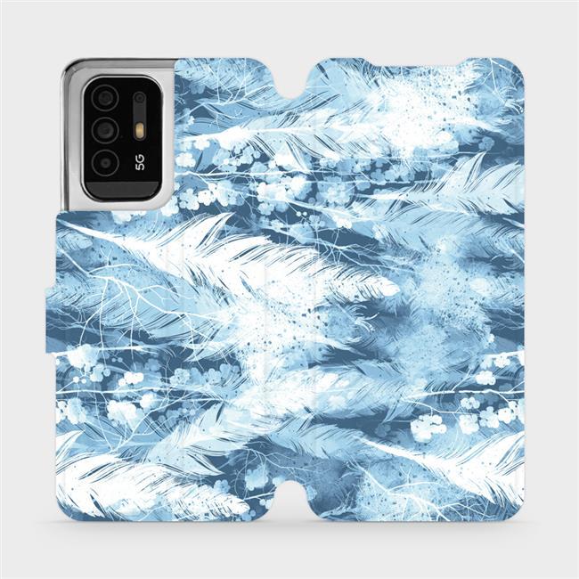Flip pouzdro Mobiwear na mobil OPPO Reno5 Z 5G - M058S Světle modrá horizontální pírka