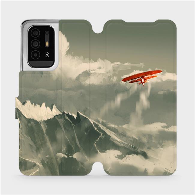 Flip pouzdro Mobiwear na mobil OPPO Reno5 Z 5G - MA03P Oranžové letadlo v horách