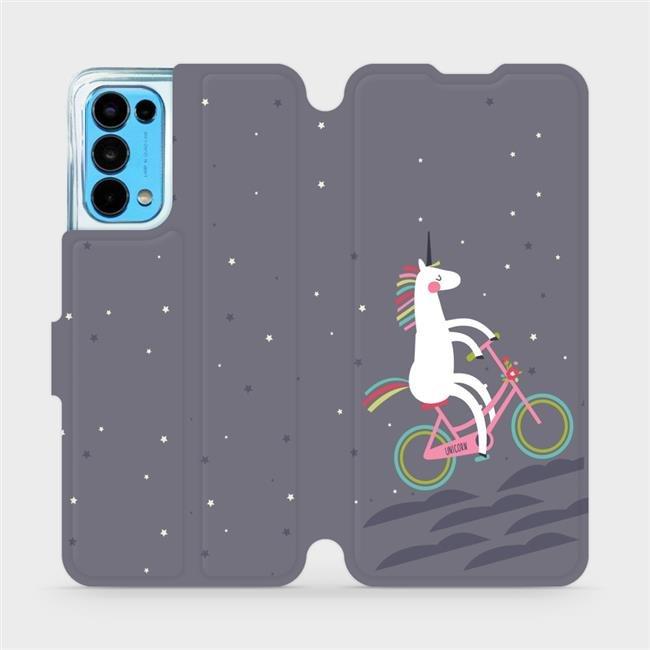 Flip pouzdro Mobiwear na mobil OPPO Reno5 5G - V024P Jednorožec na kole