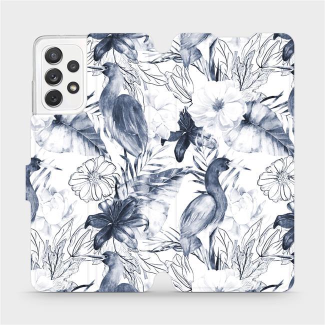 Flipové pouzdro Mobiwear na mobil Samsung Galaxy A72 - MX09S Modravé květy