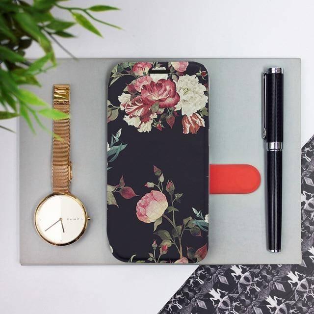 Flipové pouzdro Mobiwear na mobil Samsung Galaxy A72 - VD11P Růže na černé