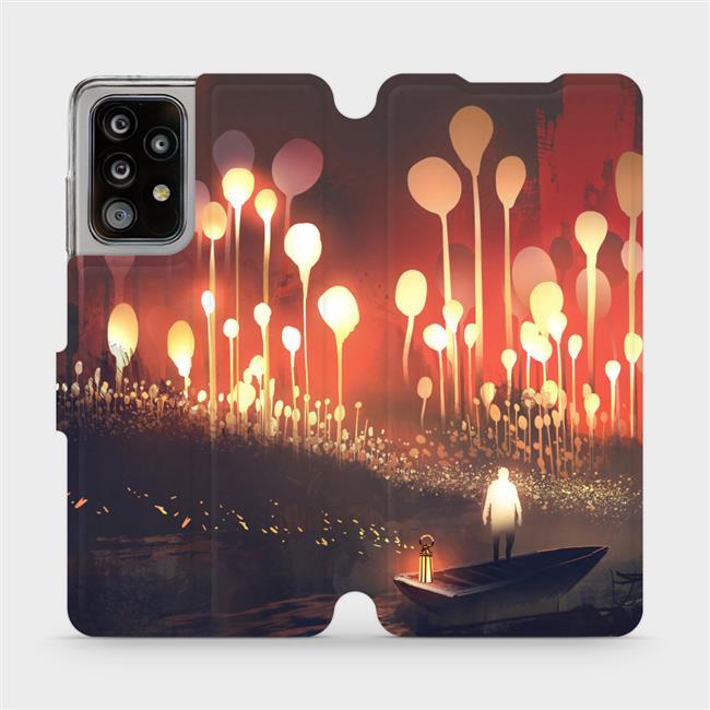 Flipové pouzdro Mobiwear na mobil Samsung Galaxy A52 / A52 5G / A52s 5G - VA01S Lampiony a muž v lodičce