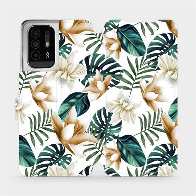 Flip pouzdro Mobiwear na mobil OPPO Reno5 Z 5G - MC07P Zlatavé květy a zelené listy