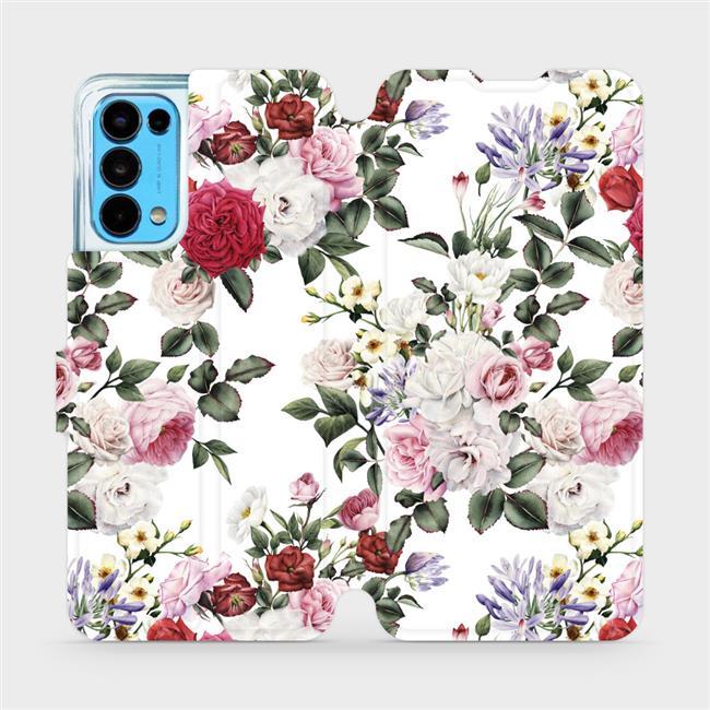 Flip pouzdro Mobiwear na mobil OPPO Reno5 5G - MD01S Růže na bílé