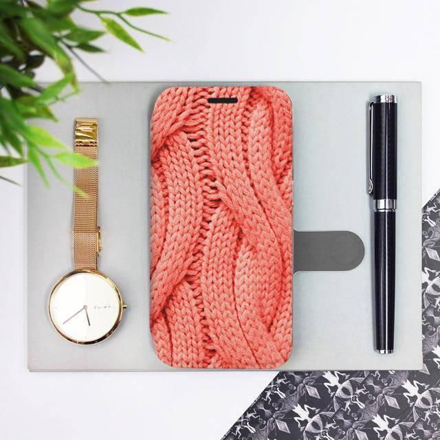 Flipové pouzdro Mobiwear na mobil Samsung Galaxy A72 - MK02S Oranžový vzor svetru