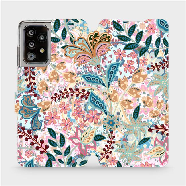 Flipové pouzdro Mobiwear na mobil Samsung Galaxy A52 / A52 5G / A52s 5G - MX04S Spletité kvítky a listy