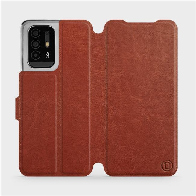 Flip pouzdro Mobiwear na mobil OPPO Reno5 Z 5G v provedení C_BRP Brown&Orange s oranžovým vnitřkem