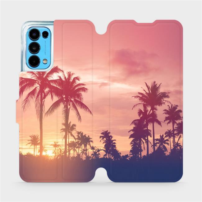 Flip pouzdro Mobiwear na mobil OPPO Reno5 5G - M134P Palmy a růžová obloha