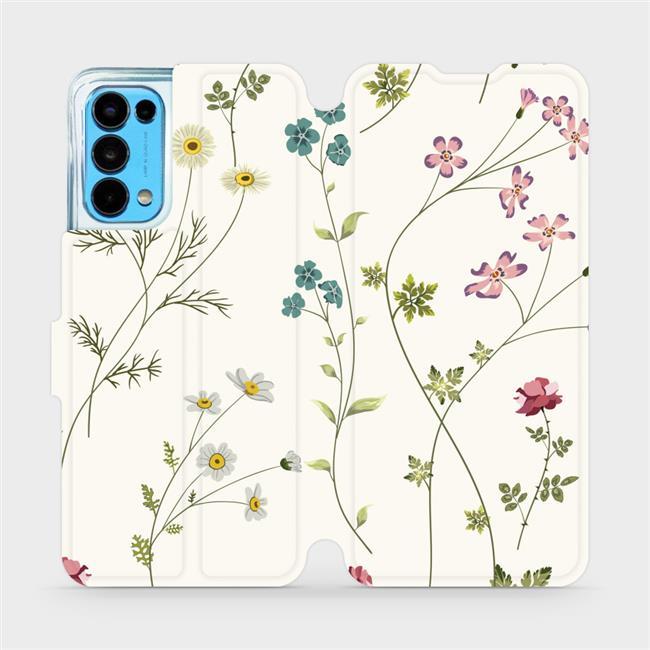 Flip pouzdro Mobiwear na mobil OPPO Reno5 5G - MD03S Tenké rostlinky s květy
