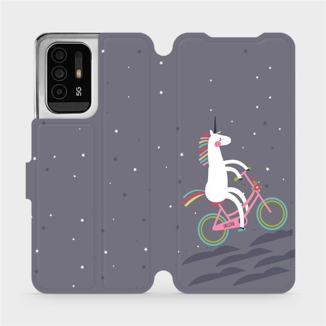 Flip pouzdro Mobiwear na mobil OPPO Reno5 Z 5G - V024P Jednorožec na kole