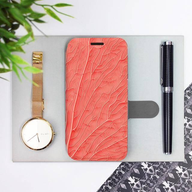 Flipové pouzdro Mobiwear na mobil Samsung Galaxy A72 - MK06S Oranžový vzor listu