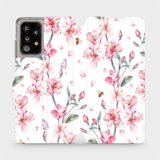 Flipové pouzdro Mobiwear na mobil Samsung Galaxy A52 / A52 5G / A52s 5G - M124S Růžové květy