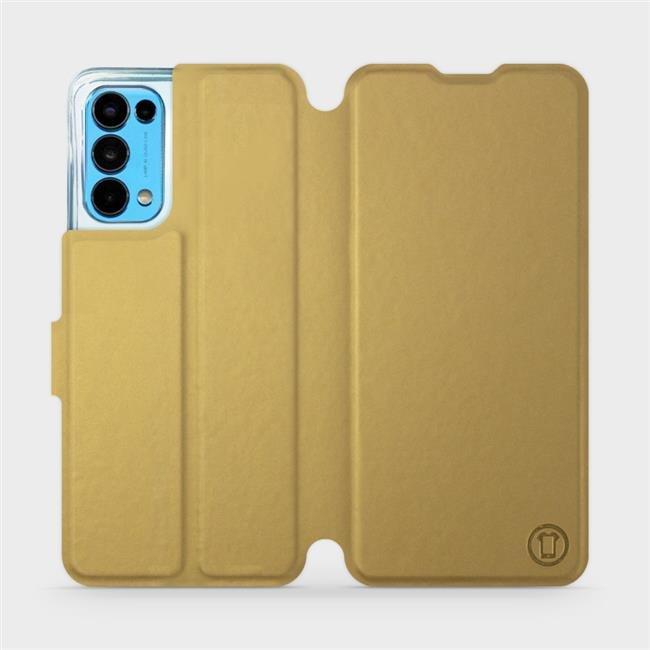 Flip pouzdro Mobiwear na mobil OPPO Reno5 5G v provedení C_GOS Gold&Gray s šedým vnitřkem