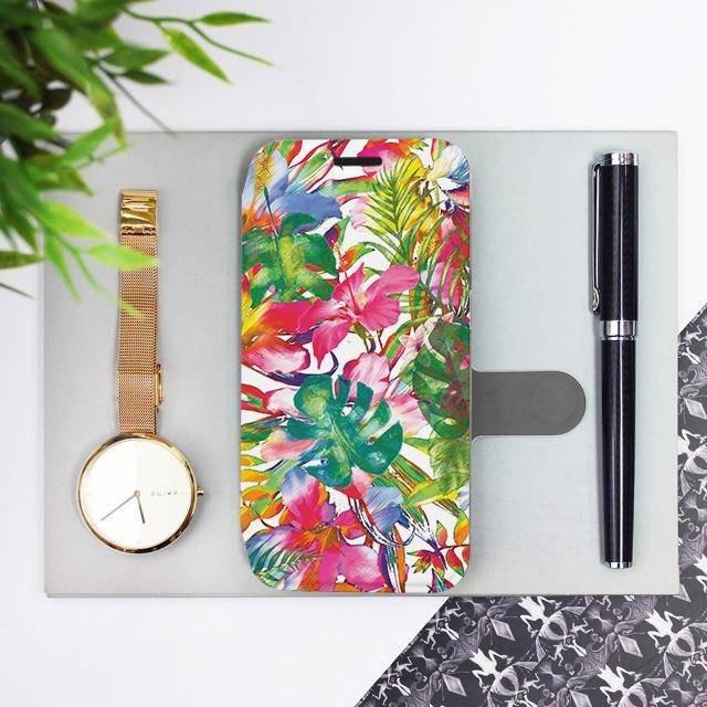 Flipové pouzdro Mobiwear na mobil Samsung Galaxy A72 - MG07S Pestrobarevné květy a listy
