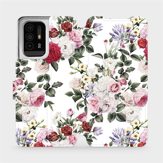Flip pouzdro Mobiwear na mobil OPPO Reno5 Z 5G - MD01S Růže na bílé