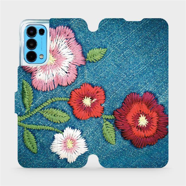 Flip pouzdro Mobiwear na mobil OPPO Reno5 5G - MD05P Džínové květy