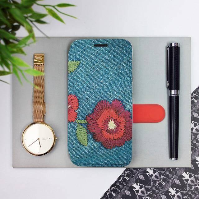 Flipové pouzdro Mobiwear na mobil Samsung Galaxy A72 - MD05P Džínové květy