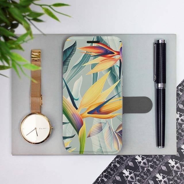 Flipové pouzdro Mobiwear na mobil Samsung Galaxy A52 / A52 5G / A52s 5G - MC02S Žluté velké květy a zelené listy