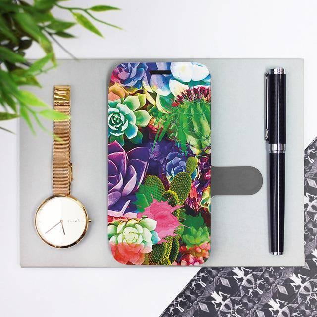 Flipové pouzdro Mobiwear na mobil Samsung Galaxy A72 - MG08S Sukulenty a kaktusy