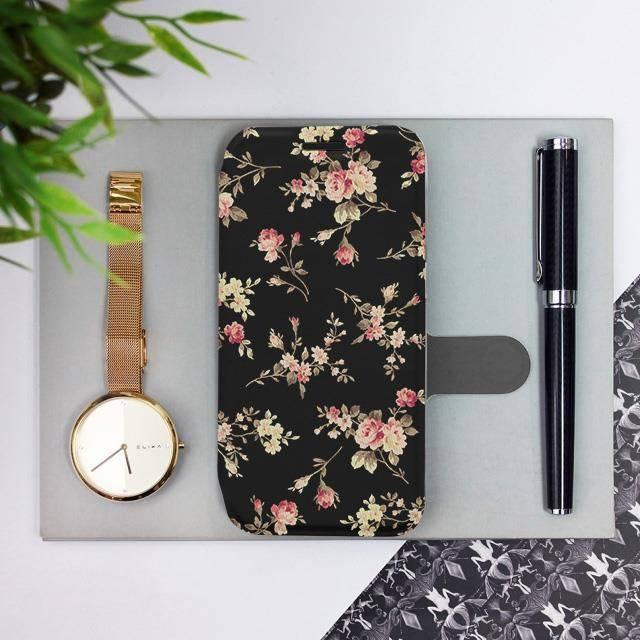 Flipové pouzdro Mobiwear na mobil Samsung Galaxy A52 / A52 5G / A52s 5G - VD02S Květy na černé