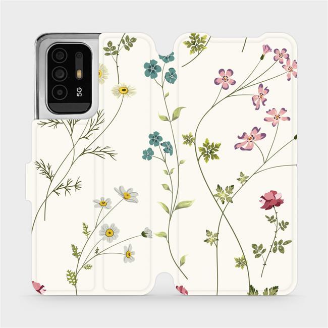 Flip pouzdro Mobiwear na mobil OPPO Reno5 Z 5G - MD03S Tenké rostlinky s květy