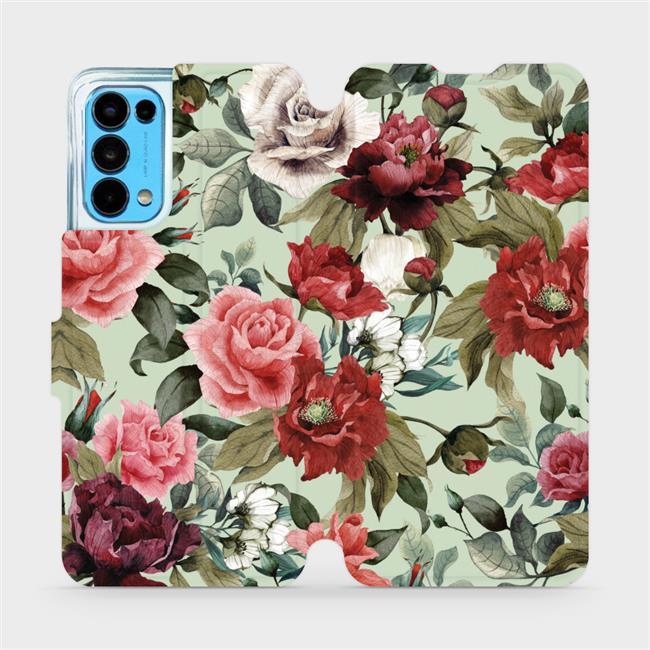 Flip pouzdro Mobiwear na mobil OPPO Reno5 5G - MD06P Růže a květy na světle zeleném pozadí