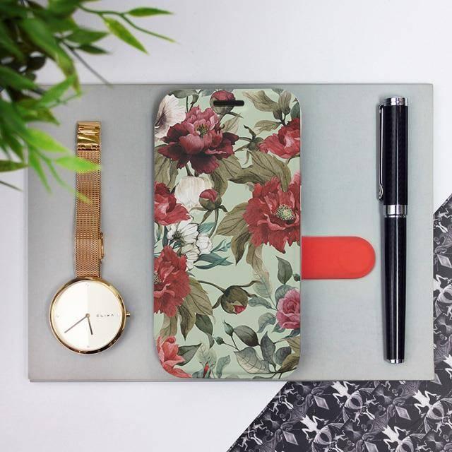 Flipové pouzdro Mobiwear na mobil Samsung Galaxy A72 - MD06P Růže a květy na světle zeleném pozadí