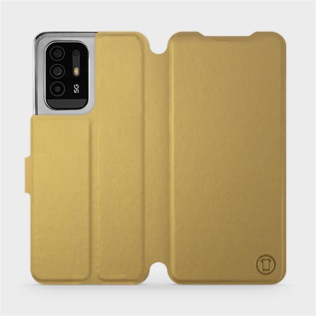 Flip pouzdro Mobiwear na mobil OPPO Reno5 Z 5G v provedení C_GOS Gold&Gray s šedým vnitřkem