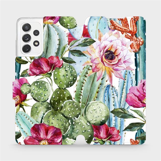 Flipové pouzdro Mobiwear na mobil Samsung Galaxy A72 - MG09S Kaktusy a květy